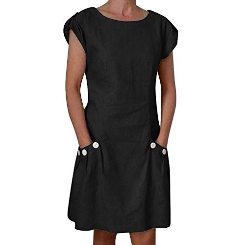 Lloopyting Women's Casual Solid Color Cotton and Linen Pocket Short-Sleeved Dress Women's Three-Dimensional Ruffled ()