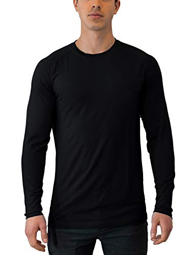 Woolx Men's Essentials Tee Lightweight & Breathable Long Sleeve Merino Wool Top, Black, X-Large
