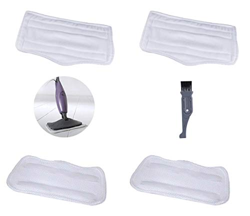 Pro Steamers Euro (I-clean 4PCS For Euro Pro Shark Steam Mop S3101 S3250 S3251 XT3010,Replacement Shark Washable Microfiber Pads, Vacuum Cleaner Parts With A Free Cleaning Brush)