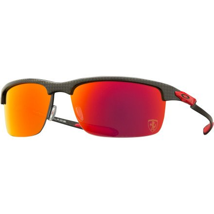 Oakley Mens Ferrari Carbon Blade Sunglasses, Carbon/Ruby Polarized, One - Blade Sunglasses