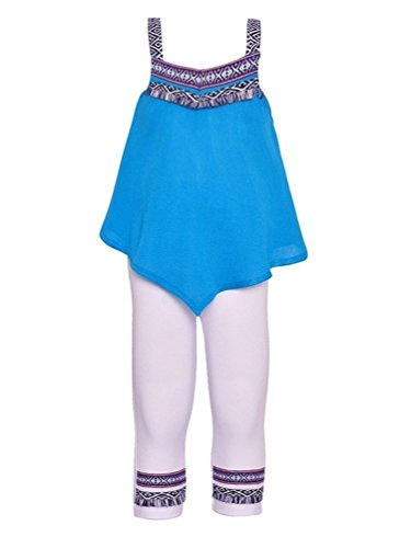 Accent Capri Set - RMLA Big Girls Turquoise Ethnic Accents Strap Loose Fit Top 2 Pc Outfit 14