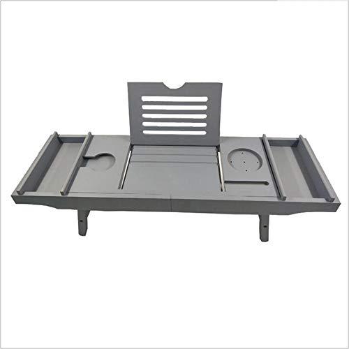 Bathtub Trays HAIZHEN, Bamboo, Adjustable Telescopic Bed Laptop Desk with Wine Glass/Phone Holder /2 Sliding Tray (Gray) by Bathtub Trays (Image #1)