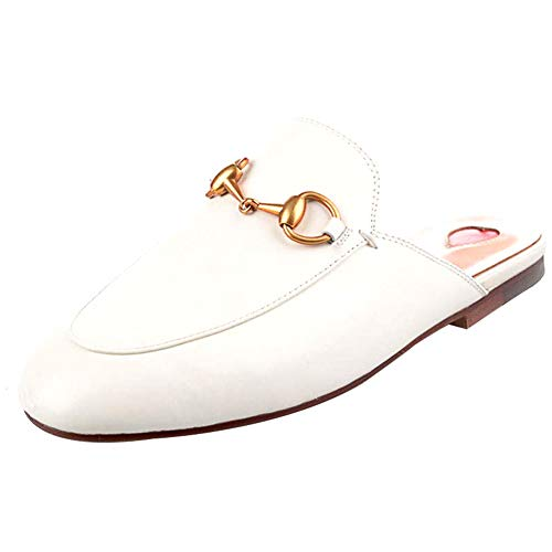 GEEDIAR Leather Mules Women Shoes Mules Flats Shoes and Slides Backless Loafer Slip-on Slippers with Embroidery and Buckle White Size - Lightweight Mules Leather