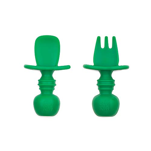 Bumkins Chewtensils, Baby Fork and Spoon Set, Silicone Training Utensils, Baby Led Weaning Stage 1 for Ages 6 mos up - Jade