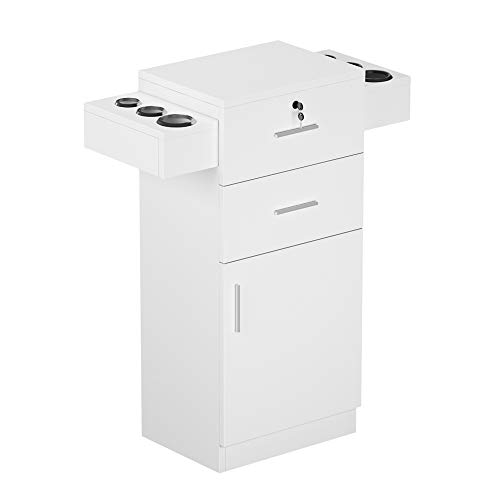SSLine Salon Station White Finish Styling Station Beauty Spa Locking Cabinet Barber Shop Free Standing Hair Salon Storage Cabinet Organizer with Hair Dryer Holder/Drawers/Bottom Chest (White)
