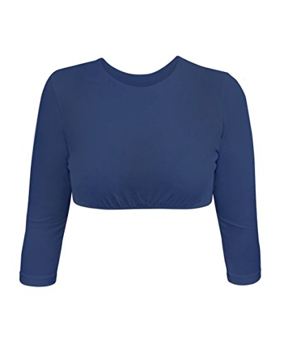 Kosher Casual Women's Modest High Neck Cropped Layering Shell - Viscose Lycra 3/4 Sleeve Base Pullover Top Small Navy