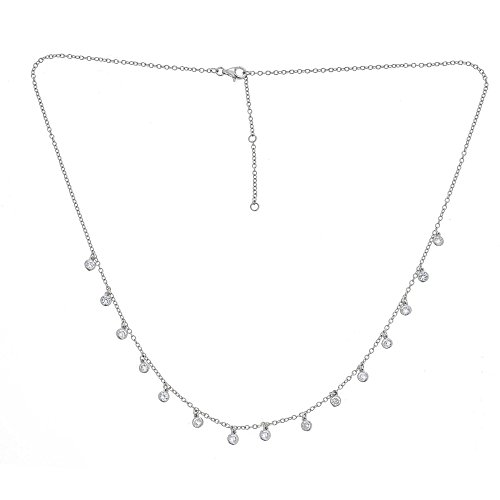 Joy and Rachel Platinum Plated 925 Sterling Silver Round Cubic Zirconia Bezel CZ by Yard Drop Dangle Station Collar Necklace, Adjustable Length 18,19,20]()