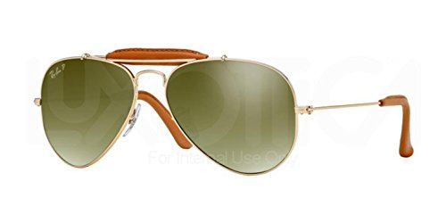 Ray-Ban AVIATOR CRAFT - ARISTA/LIGHT BROWN LEATH Frame GREEN GRADIENT BLUE+ POLAR AR Lenses 55mm - Sunglasses Ban Leather Ray