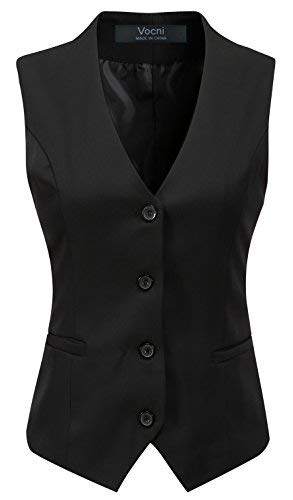 Vocni Women's Fully Lined 4 Button V-Neck Economy Dressy Suit Vest Waistcoat,Black,US XS (Fit Bust 30.3