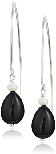 Pear Shape Black Onyx and Delicate Cultured Freshwater Pearls on Sterling Silver Marquis Clip-On (Black Onyx Pear Shape)