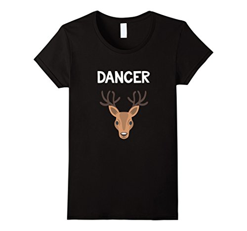 Womens Dancer Reindeer T-Shirt Christmas Family Matching Deer PJs Medium Black (Dancer Reindeer)