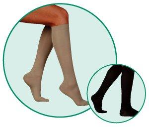 Juzo Basic Ribbed Knee High 20-30mmHg Closed Toe, V, Khaki