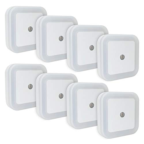 (LINCO LED Plug Night Light Wall Lamp with Dusk to Smart Sensor, Pack of 8 T001 (8S))