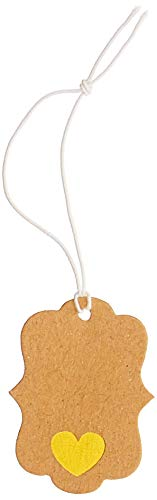 Gold Jewelry Heart Tag - Get Organized 30014763 Jewelry Price Tags with Elastic Strings, Gold Heart, 100 Pieces
