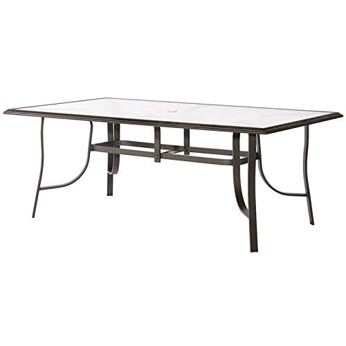 Latitude Run Powder-Coated Aluminum Tempered Rain Glass Rectangular Java Dining Table for Seats Six + Basic Design Concepts Expert Guide