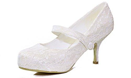Damen Elfenbein Satin & Lace Medium Ferse Mary Jane Klettverschluss Abend Hochzeit Party Schuhe elfenbeinfarben