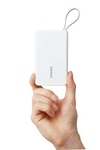 ROMOSS QS05 5000mAh Power Bank, Travel Size Portable Charger Built-in Micro USB cable and Lightning Adapter, Pocket-Size External Batteries for iPhone, Sumsang, LG, iPad Mini and Tablet - White