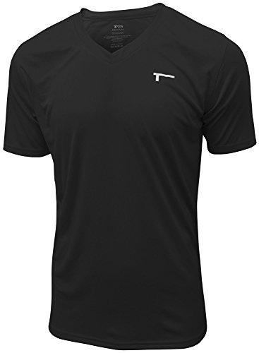 TREN Herren COOL Ultra Lightweight Polyester SS V-Neck Funktionsshirt T-Shirt Kurzarm Schwarz 001 - L