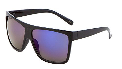 All Black Lemo Super Dark Flat Top Mob Oversized Rectangular Sunglasses (Black, - Rectangular Oversized Sunglasses