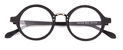 Agstum Retro Round Optical Handmade Glasses Wood Frame Rx (Black, ()