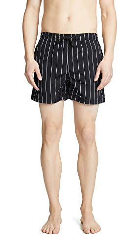 Solid & Striped Men's The Classic Pinstripe Swim Trunks, Black/Cream, X-Large