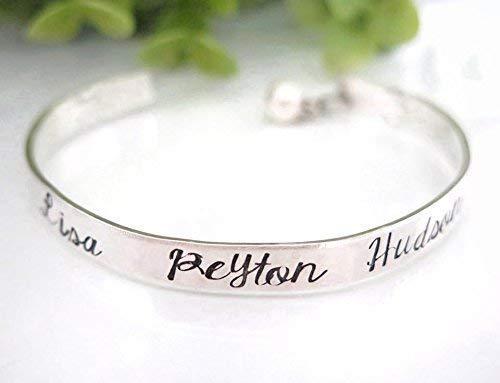 Personalized Family Name Cuff Bracelet for Mom - Thin Sterling Silver Family Name Bracelet - Grandma Bracelet