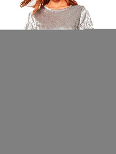 Menglihua Women Vintage Velvet Short Sleeve Crew Neck Casual T Shirt Mini Party Dress Silver