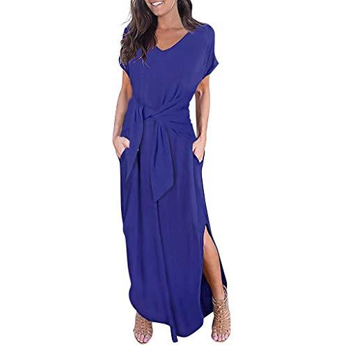 (Women's Long Dress Summer Boho Casual Loose Solid Short Sleeve Round Neck Wrap Side Split Maxi Dresses with Belt Blue)
