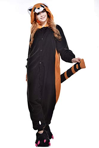 CANASOUR Polyster Adult Halloween Racoon Party Unisex Women's Onesie Costume (Large, Raccoon)