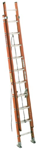 Werner D6224-2 300-Pound Duty Rating Fiberglass Flat D-Rung Extension Ladder, 24-Foot