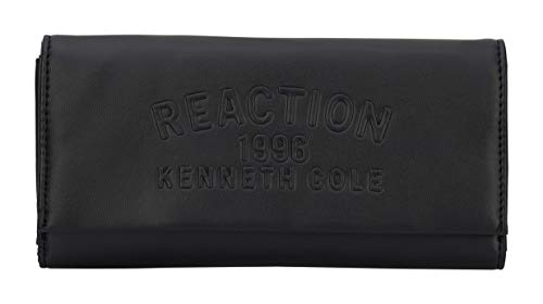 Kenneth Cole Reaction Trifold Organizer Clutch Wallet (Black Embossed)