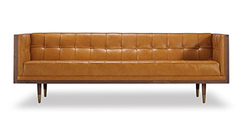 Kardiel Woodrow Midcentury Modern Box Sofa, Tan Aniline Leather/Walnut