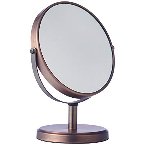 AmazonBasics Modern Dual Sided Magnification Makeup Vanity Mirror, Standard, Bronze