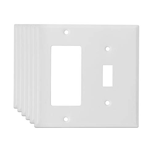 1 Toggle Decora (LoGest Duplex Wall Plates - Metal - Steel - Home Electrical Outlet Cover - Port Replacement Receptacle - Faceplates Covers 1-Toggle 1-Decora (6 Pack), White)