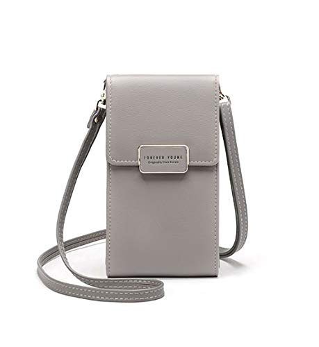 - Wallet For Women Girls Crossbody Cell Phone Bag Single Shoulder Pocket Leather Purse Zippered Compartment Pouch Smartphone Grey