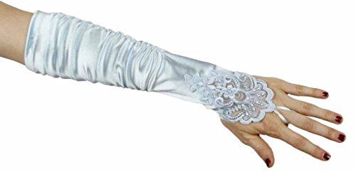 Long Nylon Light Blue Gloves (Grace Fingerless Long Gathered and Beaded Gloves, Light Blue)
