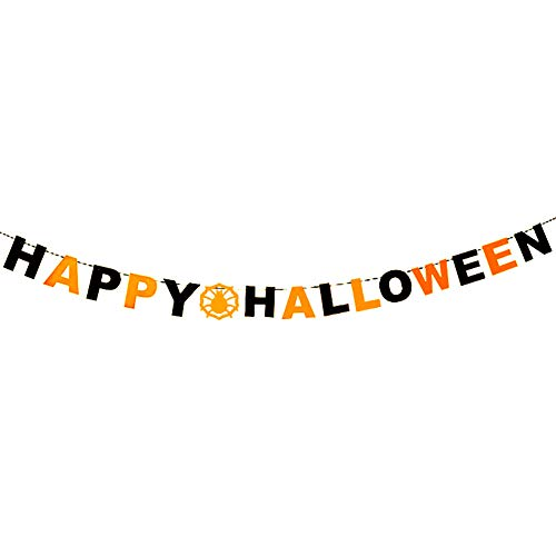 Kanggest Halloween Party Decoration Supplies Non-Woven Pull Flower Pumpkin Bat Taro Spider Web Pull Flag Pendant for $<!--$4.29-->