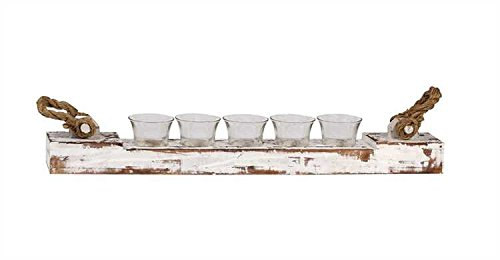 Wood Votive Candle Holder W/ 5 Glass Cups Distressed White Finish Rope Handles Country Home D For Sale