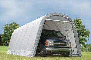 ShelterLogic 12-Ft.W Round-Style Instant Garage - 24ft.L x 12ft.W x 10ft.H, 1 5/8in. Frame, Grey, Model# 74332 (Style Garage Round Boat)