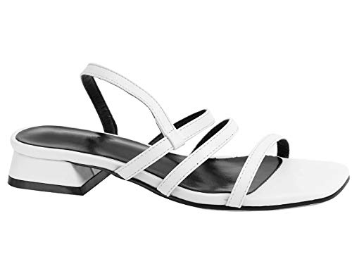 Greatonu Women Slide On Sandals Low Block Heels Elastic Strap Open Toe Shoes (9 US, - Elastic Heel