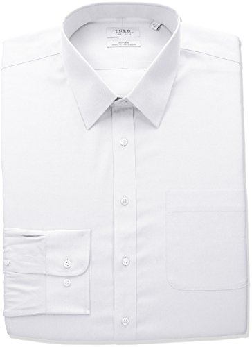 Enro Men's Classic Fit Big-Tall Solid Point Collar Dress Shirt, White, 22