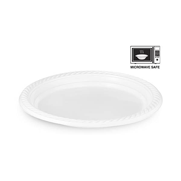 [300 Count] Plasti Plus Disposable Plastic White 7 Inch Heavy Weight Dinner Plates, Great For Weddings, Home, Office, School, Party, Picnics, Take-out, Fast Food, Outdoor, Events, Or Every Day Use, 31EZXBIuPEL