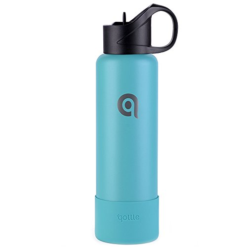qottle Stainless Steel Water Bottle with Straw - 24oz Double Wall Vacuum Metal Insulated Water Bottle with Straw Lid, Large Travel Flask with Silicone Sleeve Bottom Boot, Tiffany Blue