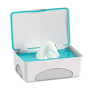 hiccapop Diaper Wipes Dispenser Baby Wipes Case | Baby Wipe Holder Keeps Wipes Fresh | Non-Slip, Easy Open & Close Wipe Container (Teal w/ Clear Window)