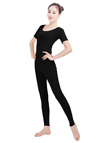 Short Sleeve Unitard (Ensnovo Womens Lycra Short Sleeve Bodysuit Adult Unitard Dance Costume Black, XXL)
