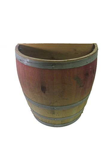 Lacquer finished Oak wood Tall Quarter Wine Barrel Planter, (26