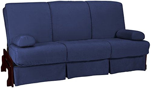 Bali Perfect Sit & Sleep Pocketed Coil Inner Spring Pillow Top Sofa Sleeper Bed, Queen-size, Mahogany Arm Finish, Microfiber Suede Dark Blue Upholstery