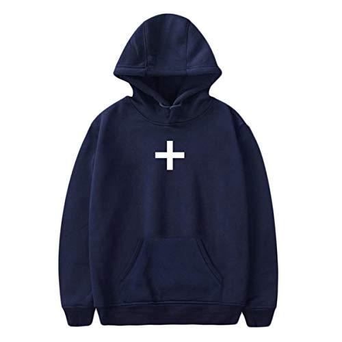 [해외]Thenxin Women`s Long Sleeve Hoodies Sweatshirts Solid Color Cross Logo Pullover with Pocket / Thenxin Women`s Long Sleeve Hoodies Sweatshirts Solid Color Cross Logo Pullover with Pocket(Navy,XXXL)