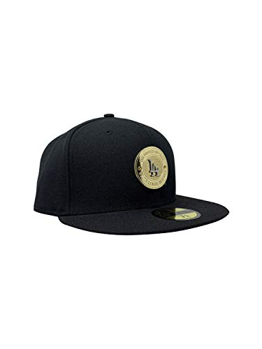 (New Era Los Angeles Dodgers 59FIFTY MLB Fitted Cap Baseball Hat (7 3/8, Blk Inner Gold))
