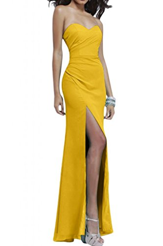 Toskana novia sencillo forma de corazón Noche de ranura para ropa largo novia fiesta en Ball dorado